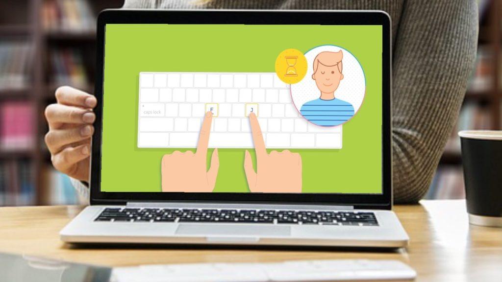 typingclubのタイピング練習サービスのパソコン画面イメージ